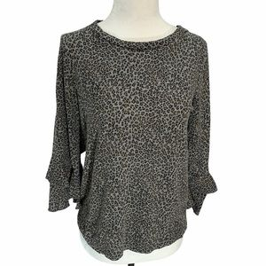 Anthropologie Animal Print Bell Sleeved To…